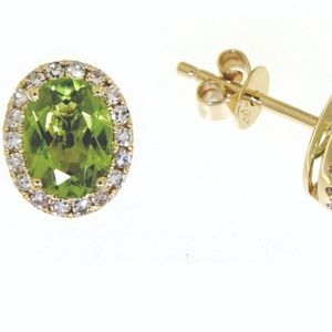Peridot  14K Yellow Gold Diamond Stud Earrings